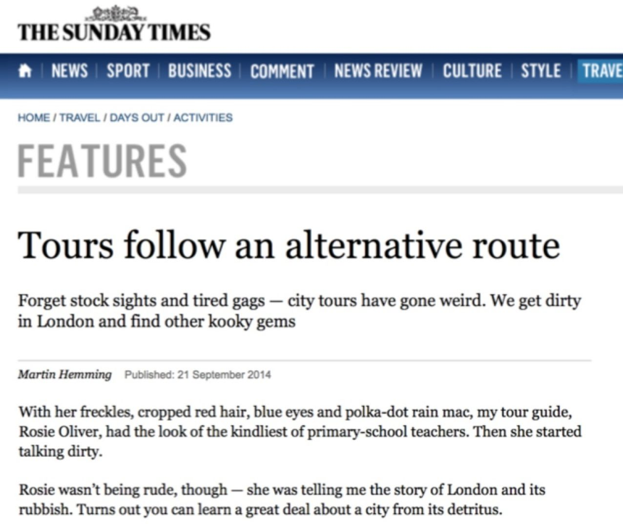 Feature in The Sunday Times, September 2014